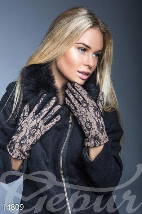 Купить Перчатки, шарфы, шапки / Перчатки, Перчатки с гипюром, Перчатки-14809, GEPUR, черный, бежевый