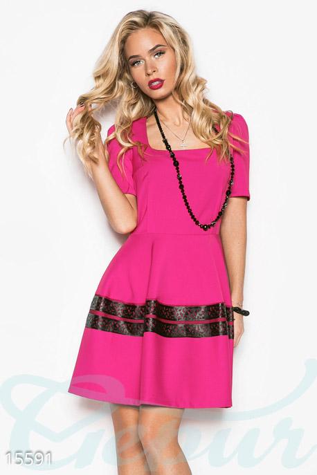 Купить Платья / Мини, Женственное платье-клеш, Платье-15591, GEPUR, розовый, вставка-черный