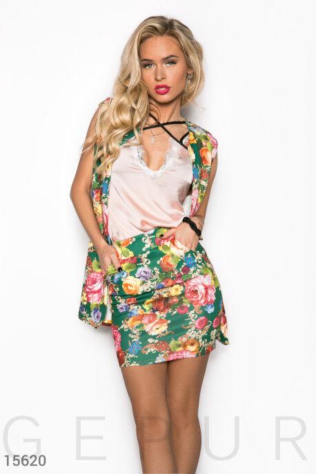 Купить Костюмы и комплекты / Большие размеры, Стильный цветочный костюм, Костюм(Батал)-15620, GEPUR, зеленый, цветочный принт