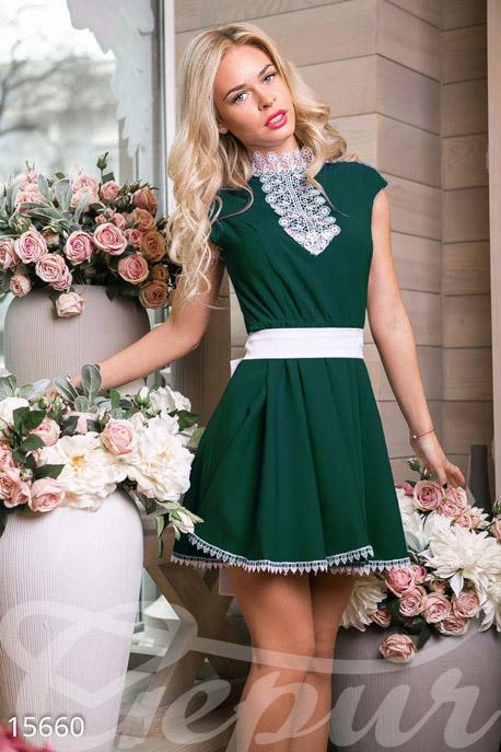 Купить Платья / Мини, Изящное платье-мини, Платье-15660, GEPUR, зеленый, кружево-белое.