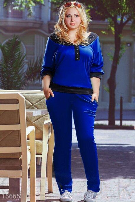 Купить Костюмы и комплекты / Большие размеры, Костюм большого размера темно-синий, Костюм(Батал)-15665, GEPUR, черный, синий электрик