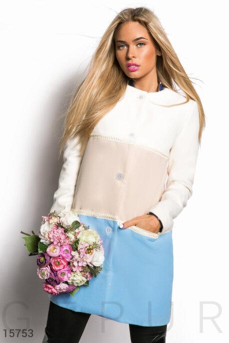 Трехцветное кашемировое пальто купить в интернет-магазине в Москве, цена 1348.71 |Пальто-15753