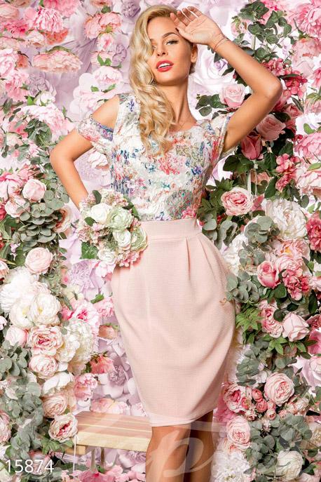 Купить Платья / Мини, Легкое цветочное платье, Платье-15874, GEPUR, розовый, принт - цветной