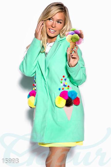 Купить Верхняя одежда / Кашемировое, Оригинальное кашемировое пальто, Пальто-15993, GEPUR, бирюзовый, аппликация – цветной