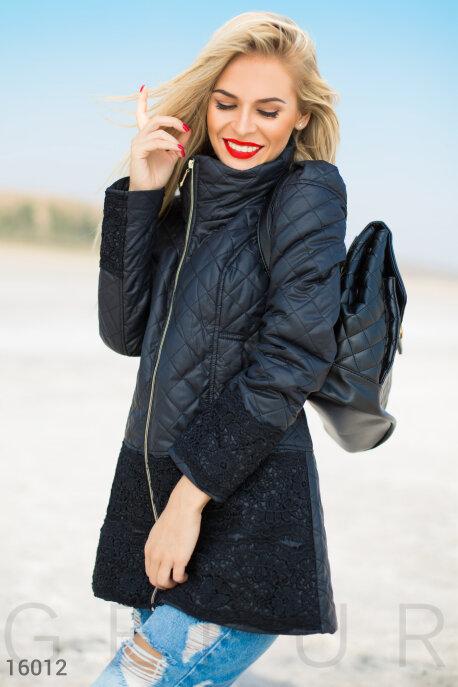 Купить Верхняя одежда / Большие размеры, Батальная черная куртка с кружевом, Куртка(Батал)-16012, GEPUR, черный