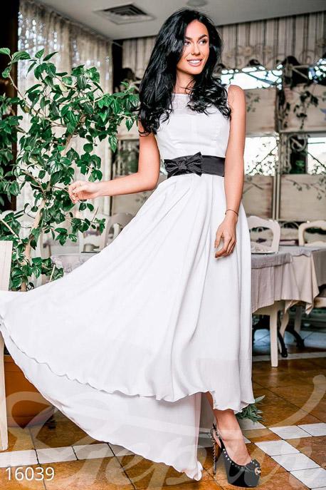 Купить Платья / Вечерние, Вечернее платье-макси, Платье-16039, GEPUR, белый, пояс – чёрный