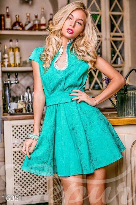 Купить Платья / Мини, Стильное платье-мини, Платье-16051, GEPUR, зелёный, кружево - белый
