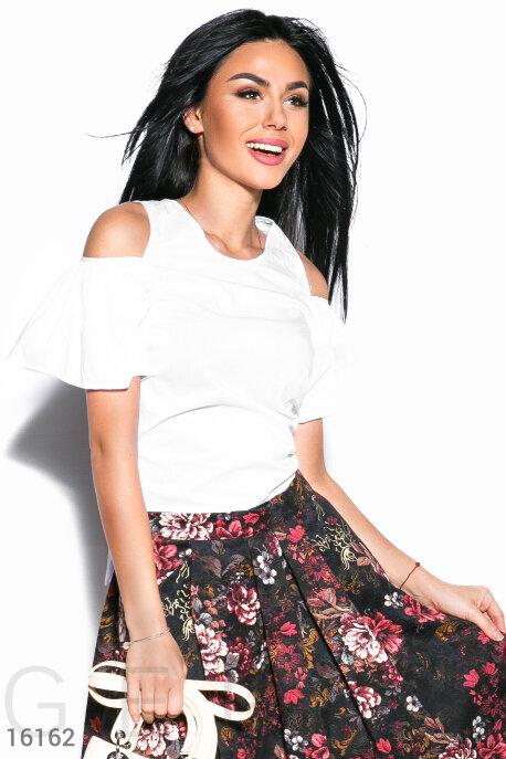 Блузы, рубашки, Модная укороченная блузка, Блузка-16162, GEPUR, белый  - купить со скидкой