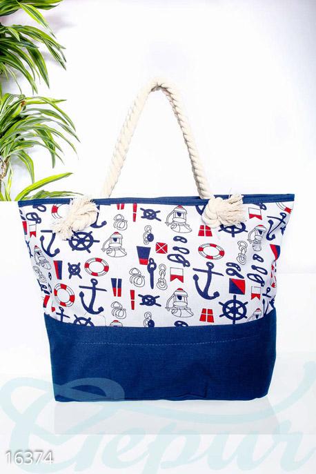 Сумки, клатчи, кошельки / Сумки, Трендовая пляжная сумка, Сумка-16374, GEPUR, белый, синий, красный  - купить со скидкой