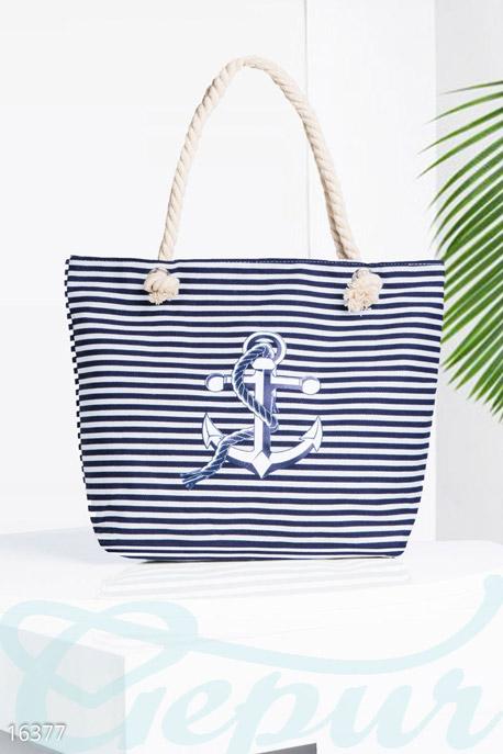 Купить Сумки, клатчи, кошельки / Сумки, Стильная пляжная сумка, Сумка-16377, GEPUR, тёмно-синий, белый