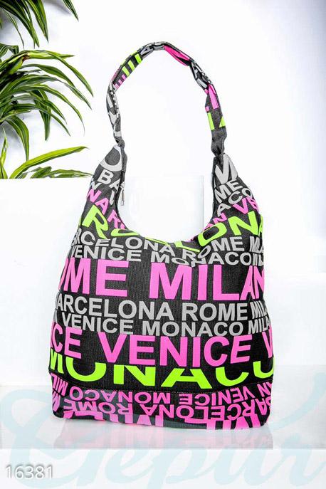 Купить Сумки, клатчи, кошельки / Сумки, Оригинальная пляжная сумка, Сумка-16381, GEPUR, чёрный, принт - цветной