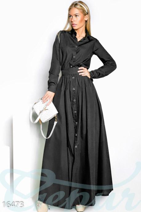 Купить Платья / Макси, Длинное платье-рубашка, Платье-16473, GEPUR, черный