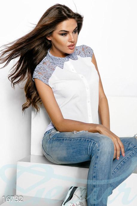 Купить Блузы, рубашки, Роскошная шифоновая блуза, Блуза-16732, GEPUR, белый, вставки - серый