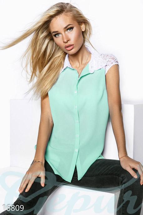Купить Блузы, рубашки, Роскошная шифоновая блуза, Блуза-16809, GEPUR, мята, вставки - белый