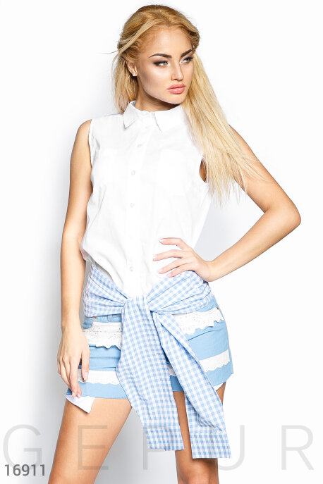 Купить Блузы, рубашки, Необычная летняя рубашка, Рубашка-16911, GEPUR, бело-голубой
