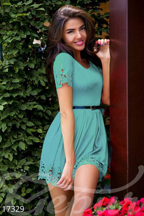 Купить Платья / Мини, Яркое перфорированное платье, Платье-17329, GEPUR, ментол