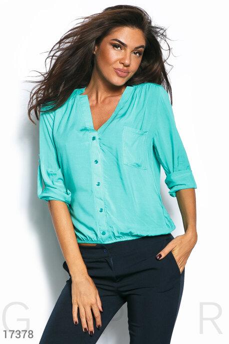 Купить Блузы, рубашки / Большие размеры, Оригинальная блуза-oversize, Блуза-17378, GEPUR, мятный