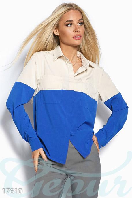 Купить Свитера / Блузы, рубашки, Легкая батальная блуза, Блуза(Батал)-17610, GEPUR, бежевый, синий электрик