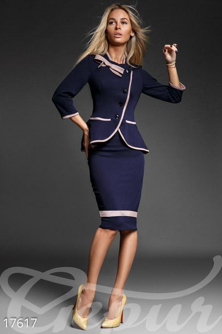 Купить Костюмы и комплекты / Низ юбка, Безупречный сдержанный костюм, Костюм-17617, GEPUR, темно-синий