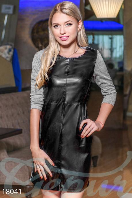 Купить Платья / Мини, Модное кожаное платье, Платье-18041, GEPUR, серо-черный