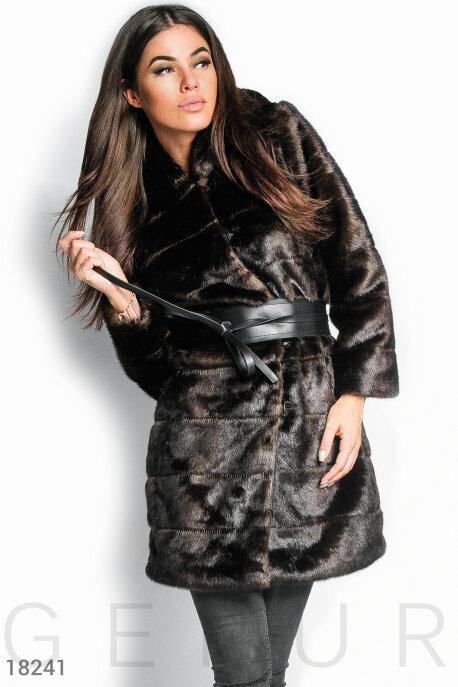 Купить Верхняя одежда / Шубы, Шуба с капюшоном, Шуба-18241, GEPUR, темно-коричневый