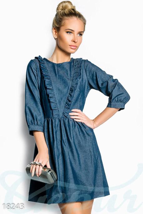 Купить Платья / Мини, Расклешенное джинсовое платье, Платье-18243, GEPUR, синий