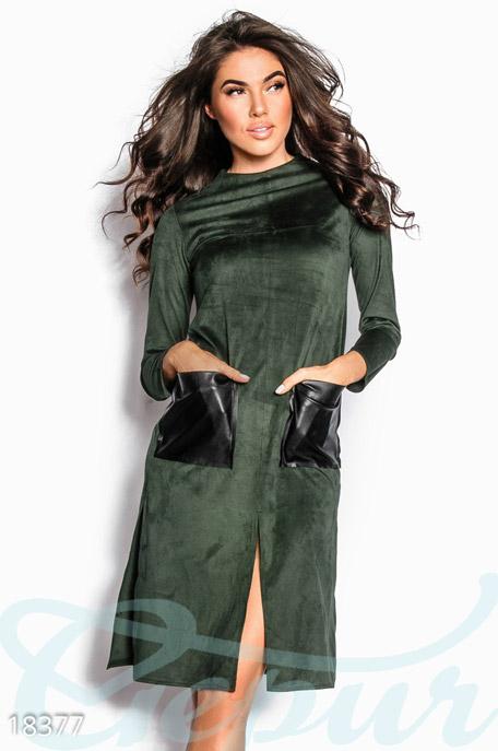 Купить Платья / Миди, Мягкое замшевое платье, Платье-18377, GEPUR, темно-зеленый