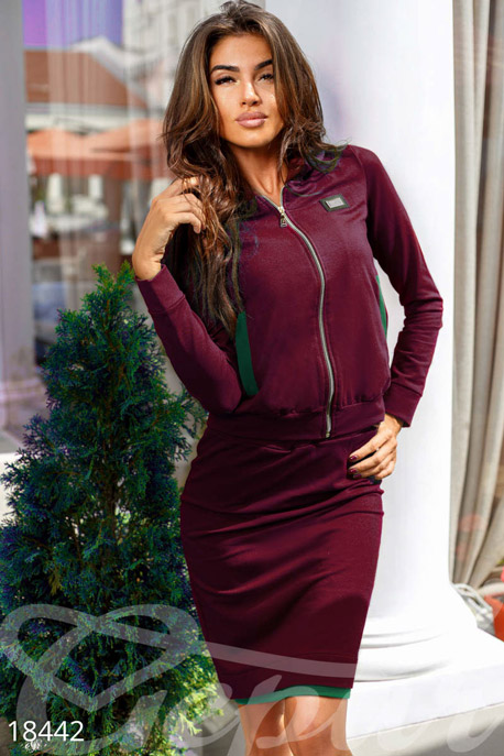 Купить Костюмы и комплекты / Низ юбка, Стильный юбочный костюм, Костюм-18441, GEPUR, марсала