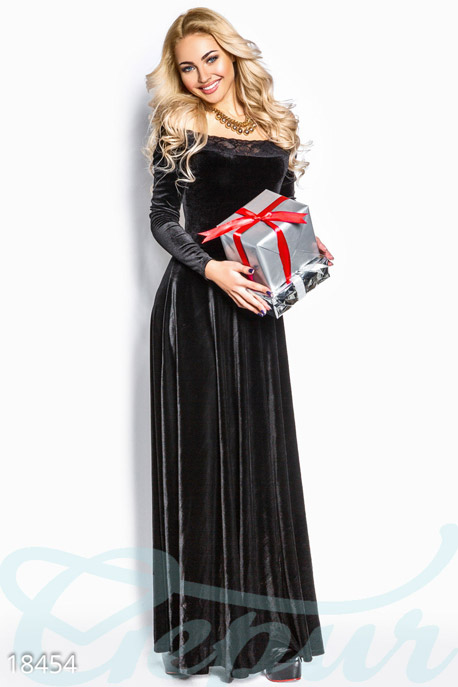 Купить Платья / Макси, Вечернее бархатное платье, Платье-18454, GEPUR, черный