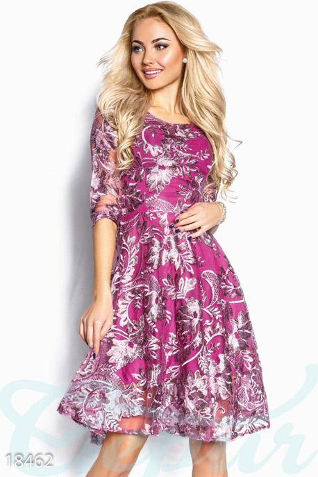 Купить Платья / Миди, Нарядное вышитое платье, Платье-18462, GEPUR, сиренево-розовый