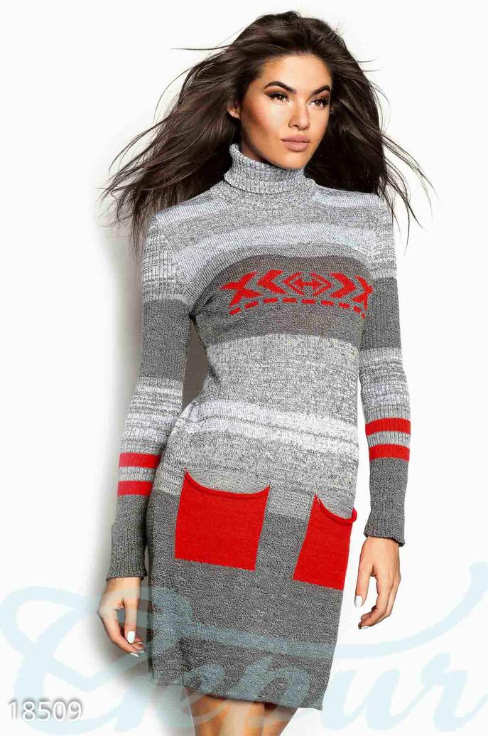 Купить Платья / Теплые, Теплое платье меланж, Платье-18509, GEPUR, серый меланж