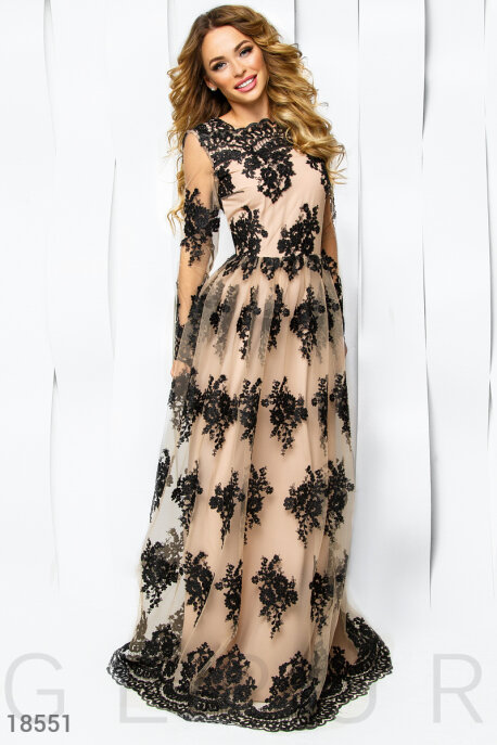 Купить Платья / Premium, Платье ручная вышивка, Платье-18551, GEPUR, бежево-черный