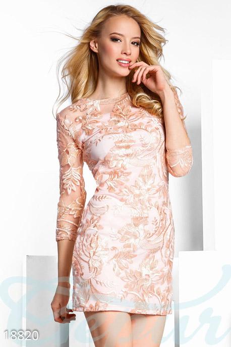 Купить Платья / Мини, Праздничное вышитое платье, Платье-18820, GEPUR, пудрово-розовый
