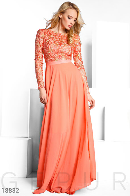 Купить Платья / Макси, Вечернее вышитое платье, Платье-18832, GEPUR, персиковый