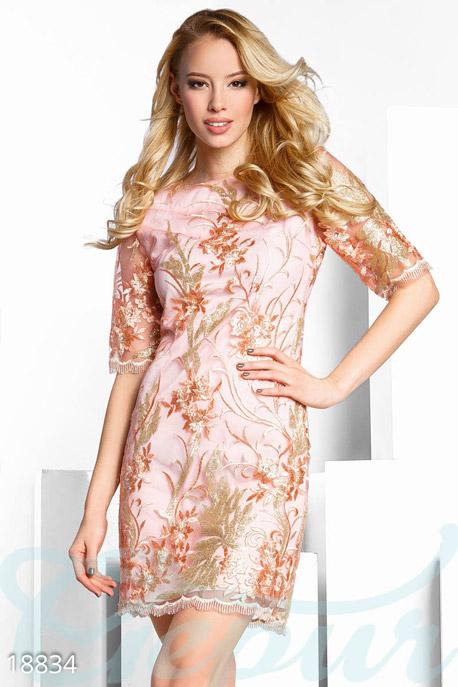 Купить Платья / Мини, Праздничное платье пайетками, Платье-18834, GEPUR, розово-золотистый