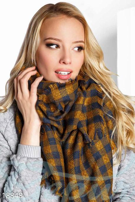 Купить Перчатки, шарфы, шапки / Платки, Мягкий клетчатый платок, Платок-18848, GEPUR, горчично-синий
