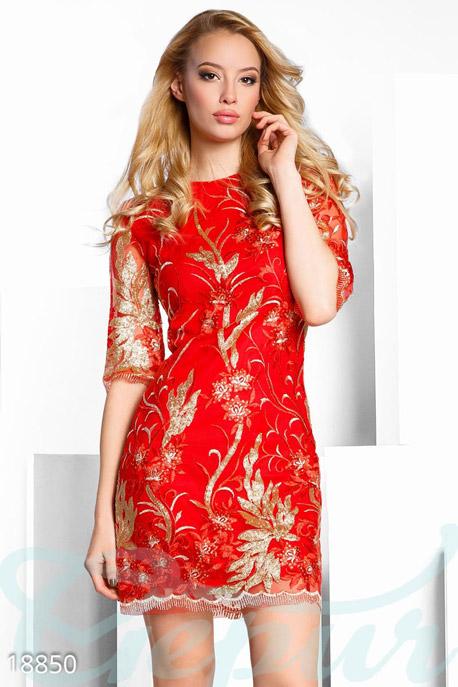 Купить Платья / Мини, Праздничное платье пайетками, Платье-18850, GEPUR, красно-золотистый