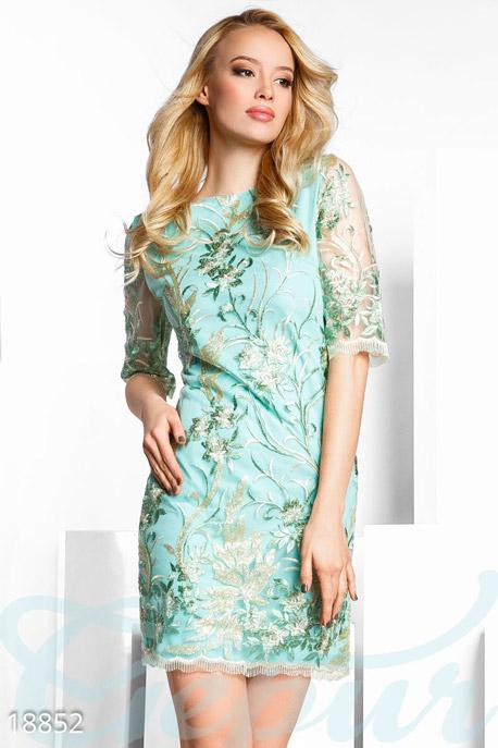 Купить Платья / Мини, Праздничное платье пайетками, Платье-18852, GEPUR, мятно-золотистый