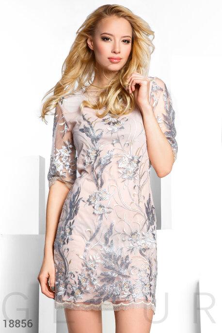 Купить Платья / Мини, Праздничное платье пайетками, Платье-18856, GEPUR, бежево-серый