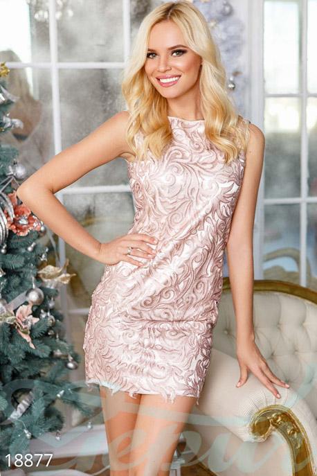 Купить Платья / Мини, Коктейльное платье люрекс, Платье-18877, GEPUR, шампань, пайетки - кофе