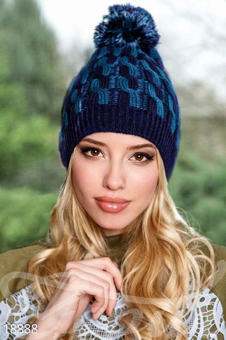 Купить Перчатки, шарфы, шапки / Шапки, Двухцветная шапка помпон, Шапка-18888, GEPUR, синий, морской волны