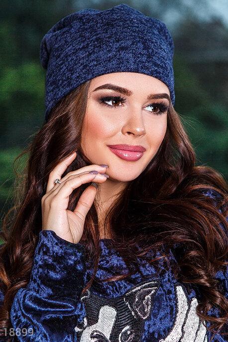 Купить Перчатки, шарфы, шапки / Шапки, Меланжевая трикотажная шапка, Шапка-18899, GEPUR, синий меланж