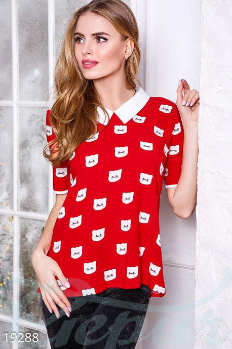 Купить Блузы, рубашки, Блуза с принтом, Блуза-19288, GEPUR, красный с белым