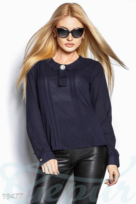 Купить Блузы, рубашки, Сдержанная шифоновая блуза, Блуза-19477, GEPUR, темно-синий