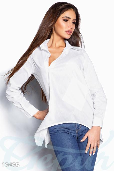 Купить Блузы, рубашки, Асимметричная женская рубашка, Рубашка-19495, GEPUR, белый
