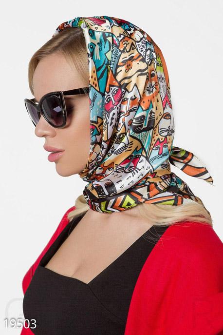 Купить Перчатки, шарфы, шапки / Платки, Шелковый принтованный платок, Платок-19503, GEPUR, мультиколор