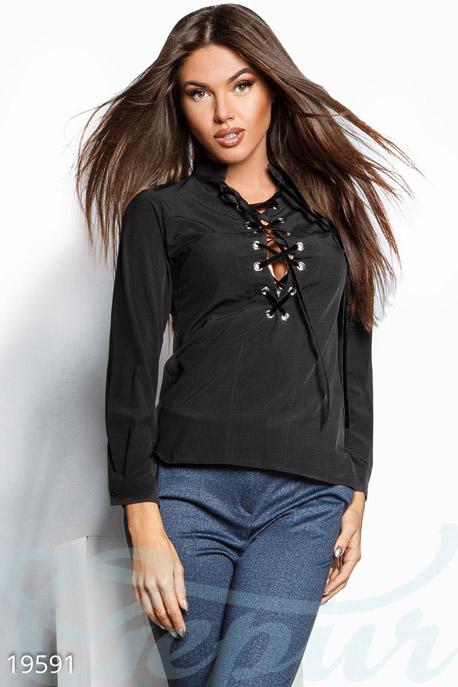 Асимметричная блуза шнуровка