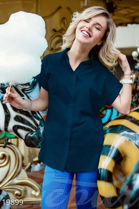 Купить Свитера / Блузы, рубашки, Яркая летняя рубашка, Рубашка-19899, GEPUR, темно-синий