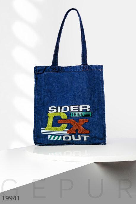 Купить Сумки, клатчи, кошельки / Сумки, Джинсовая сумка шоппер, Сумка-19941, GEPUR, темно-синий