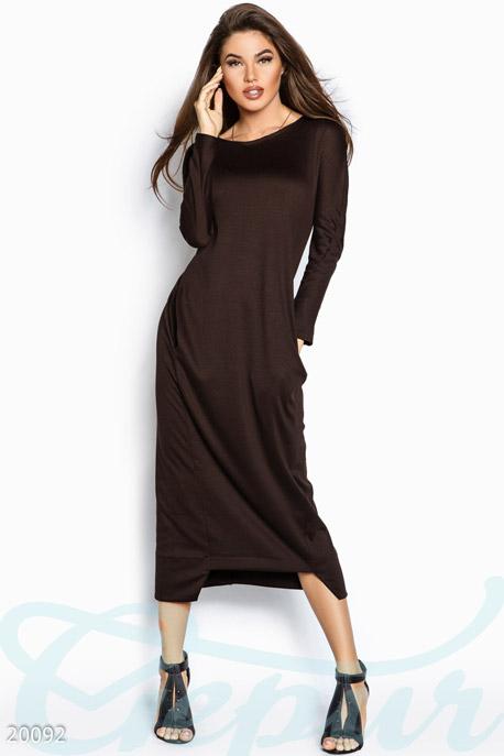 Купить Платья / Макси, Элегантное платье макси, Платье-20092, GEPUR, темно-коричневый